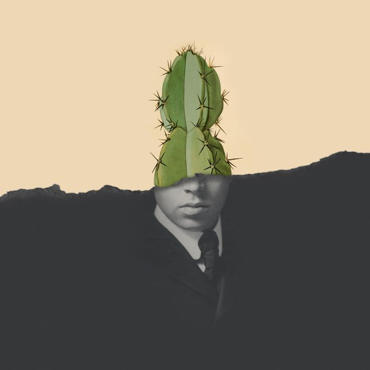 Cactus Man  |  Collage by Studio Lowbrow