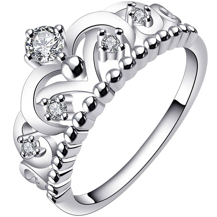 LWLH Princess Queen Crown Ring for Women 925 Sterling