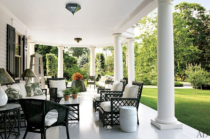 Porch by Miles Redd.Dreams, Outdoor Living, Black And White, Wicker Furniture, Southern Porches, Outdoor Spaces, Architecture Digest, Front Porches, Back Patios