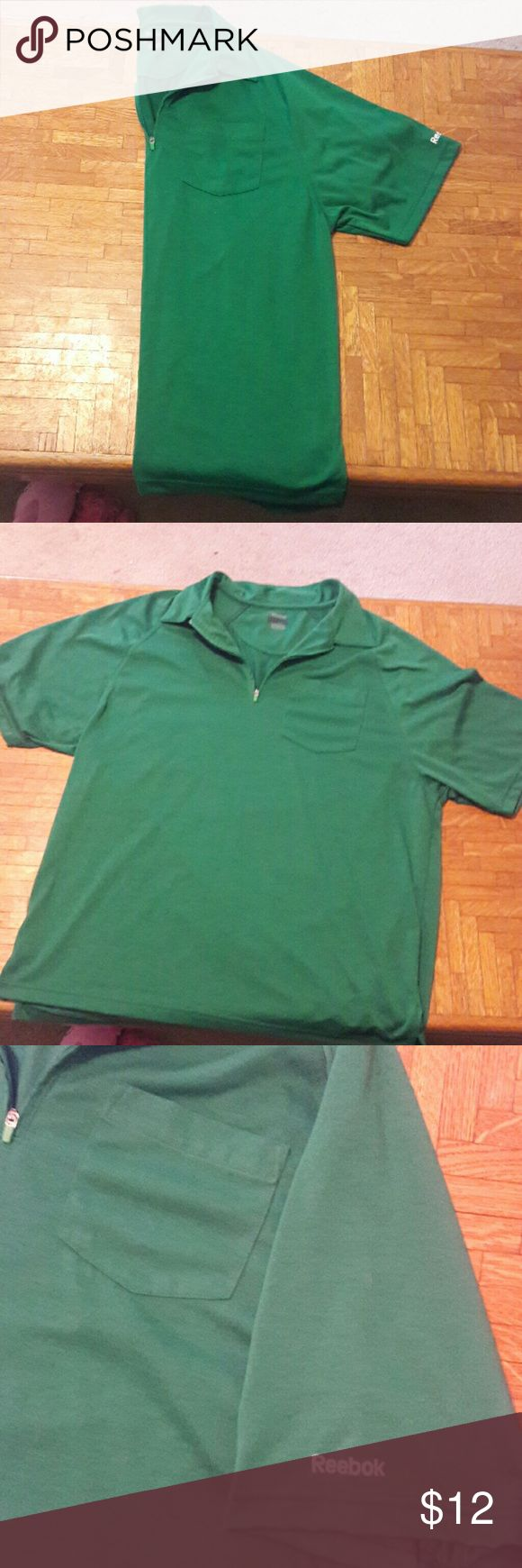 Reebok collared shirt Green short sleeve shirt with collar. Zips up on chest. Great condition Reebok Shirts Dress Shirts