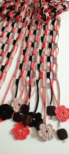 Terra & Фого цветочно бисерные вязания крючком echarpe от GabyCrochetCrafts