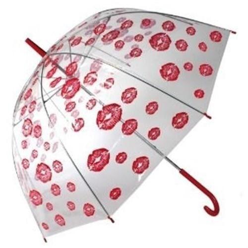 Red Lips Dome Umbrella - Öpücük Desenli Şemsiye