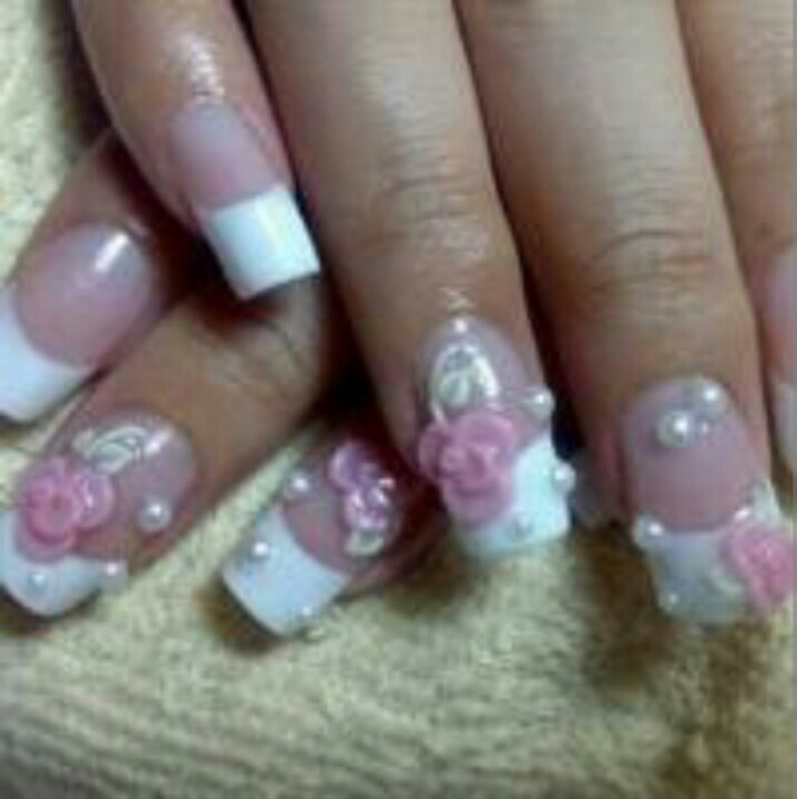 64 best baby pink nail design images on pinterest bebe crazy french nails with a rose prinsesfo Image collections