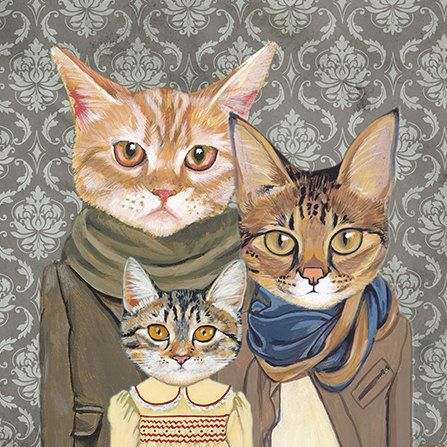 Family Portrait II - Cats In Clothes - Fine Art Print by Heather Mattoon.