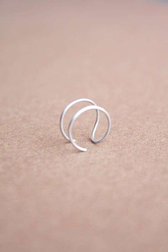 Sterling Silver Tragus Ring Ear Cuff Conch Ring Double Tragus