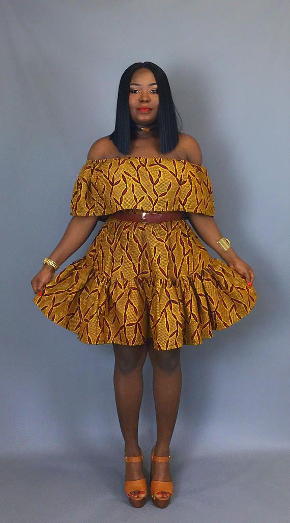 Vêtements africain robe épaule imprimé africain robe wax