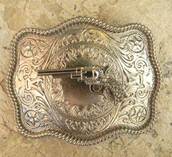 Silver Gun Belt Buckle Gun Belt Buckle Pistol by StepOriginals
