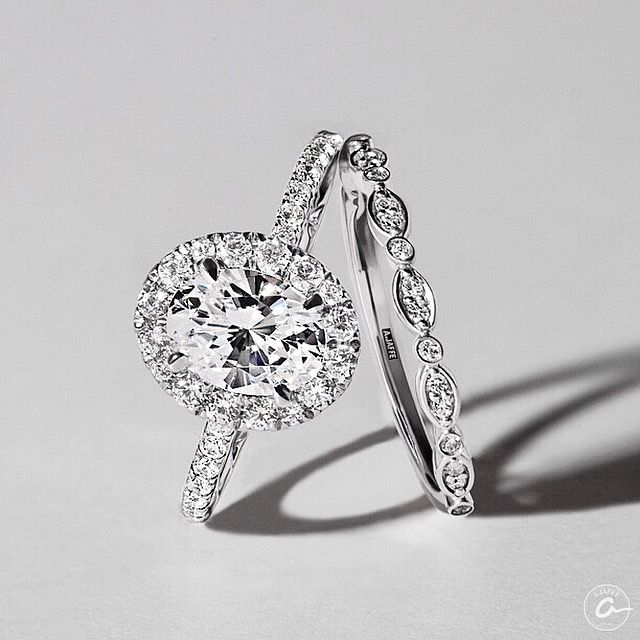 Intricate Milgrain Accent Gallery Detail Oval Halo Engagement Ring Styles ME2181Q and Marquise and Round Shape Diamond Stackable Half Circle Band Style WR1055