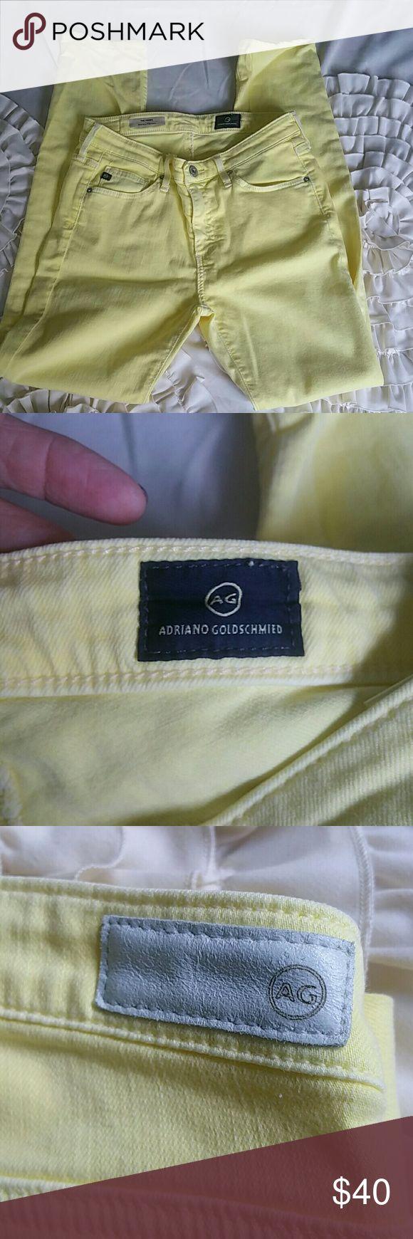 AG yellow cigarette jeans. Yellow cigarette jeans. Ag Adriano Goldschmied Jeans Skinny