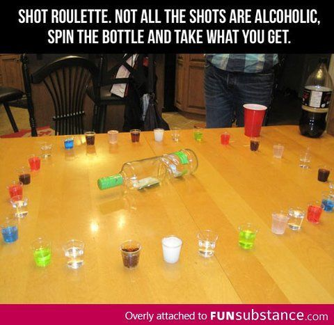 Shot roulette mixture of alcohol and non-alcoholic drinks. Fun for a bachelorette or some hockey team party!