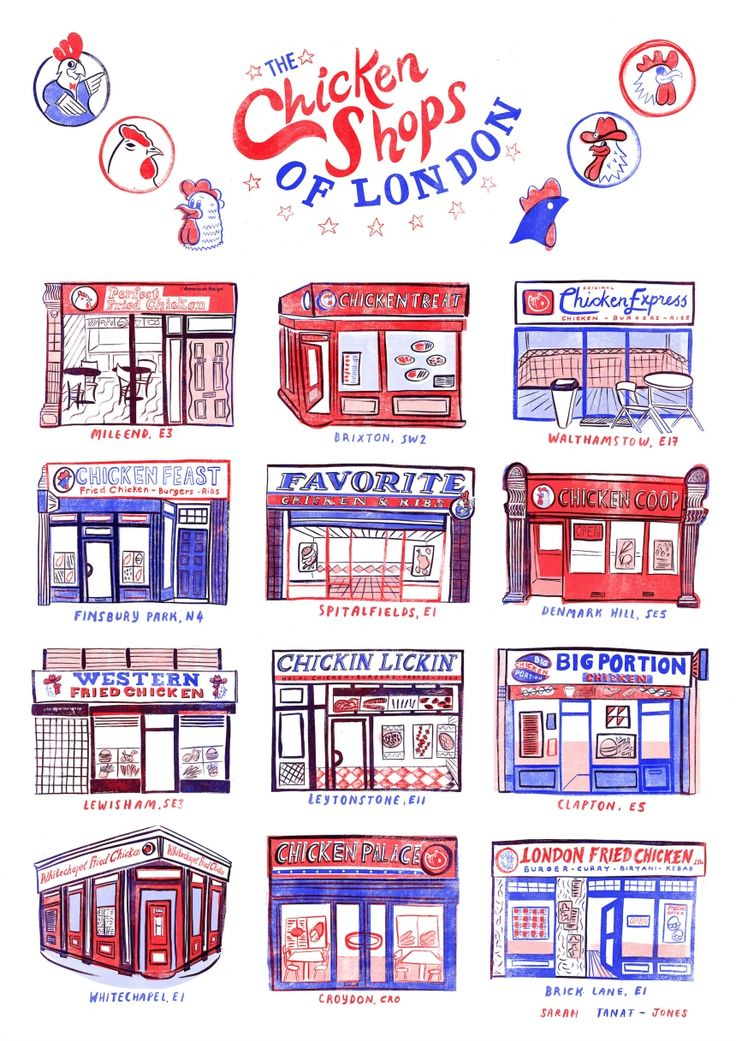 The final image by Sarah Tanat-Jones, depicting a range of real-life chicken takeaways across the UK capital