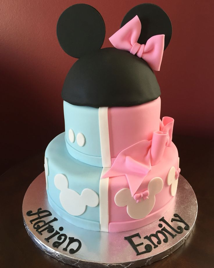 Mickey and Minnie Mouse Birthday Cake for Twins  Birthday Cakes ...