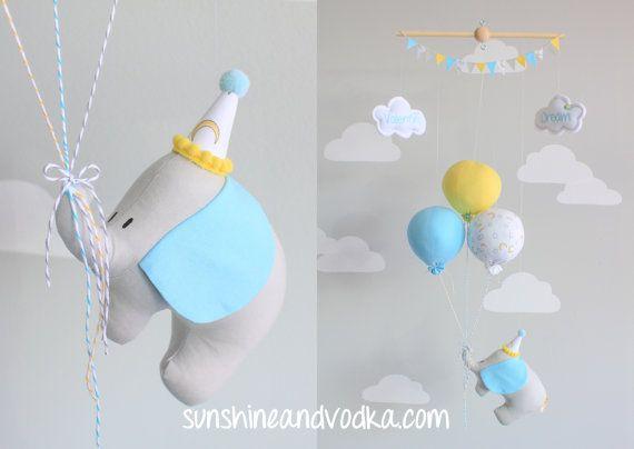 Globo móvil bebé elefante tema de viaje por sunshineandvodka