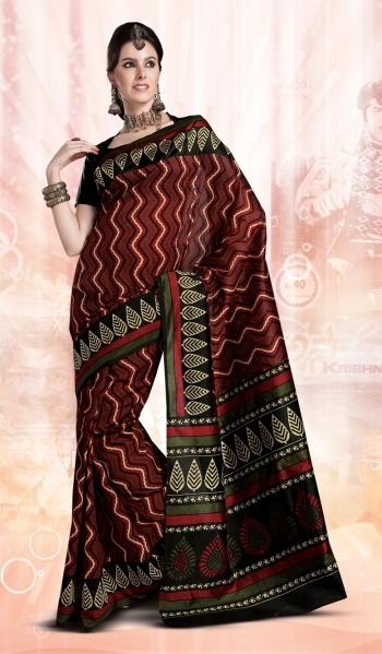 Maroon Designer Indian Art Silk Saree with Stylish Border