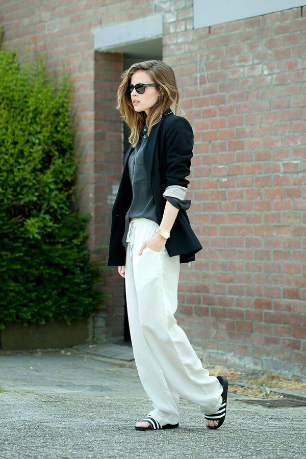 blazer and wide leg pants, all year roound staple