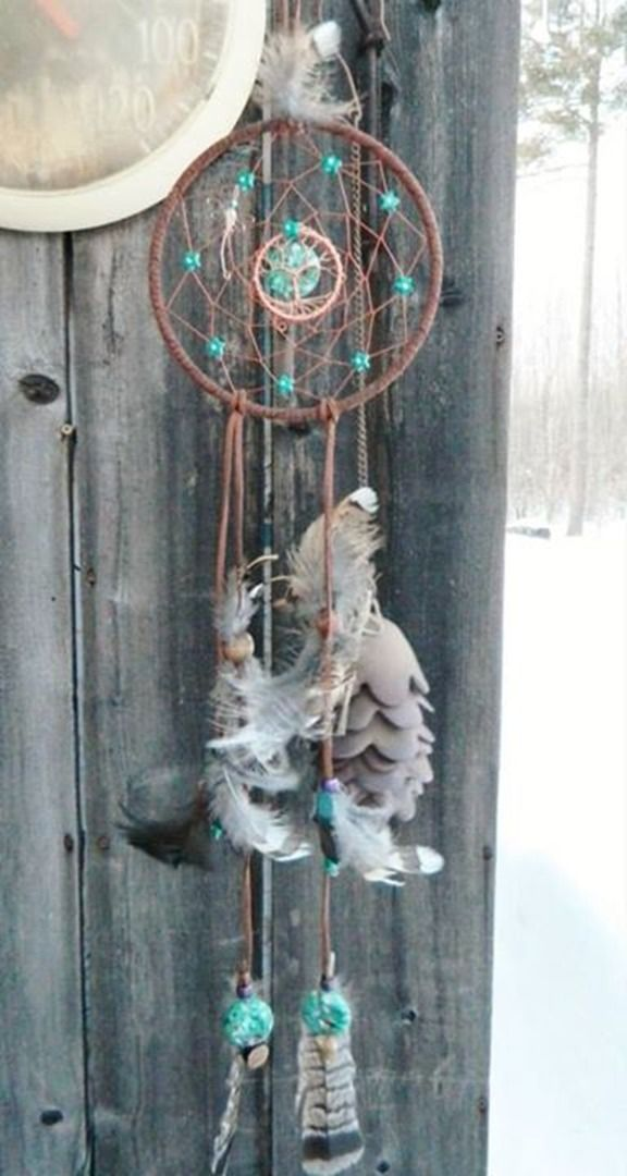 Katahdin Dream Catcher with copper Tree of Life & tiny dragonfly!