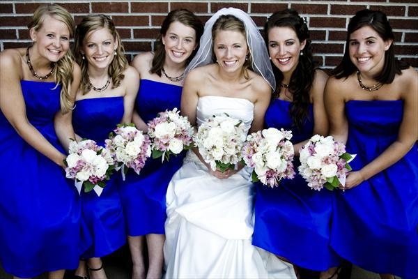#Bridesmaids in #royal blue #dresses