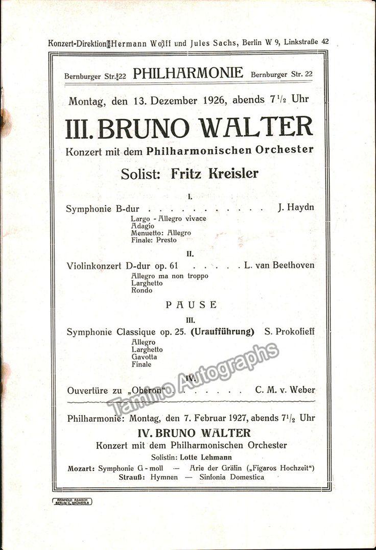 Kreisler, Fritz - Concert Program Berlin 1926 Bruno Walter