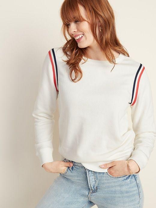 Sleeve-Stripe Sweatshirt For Women