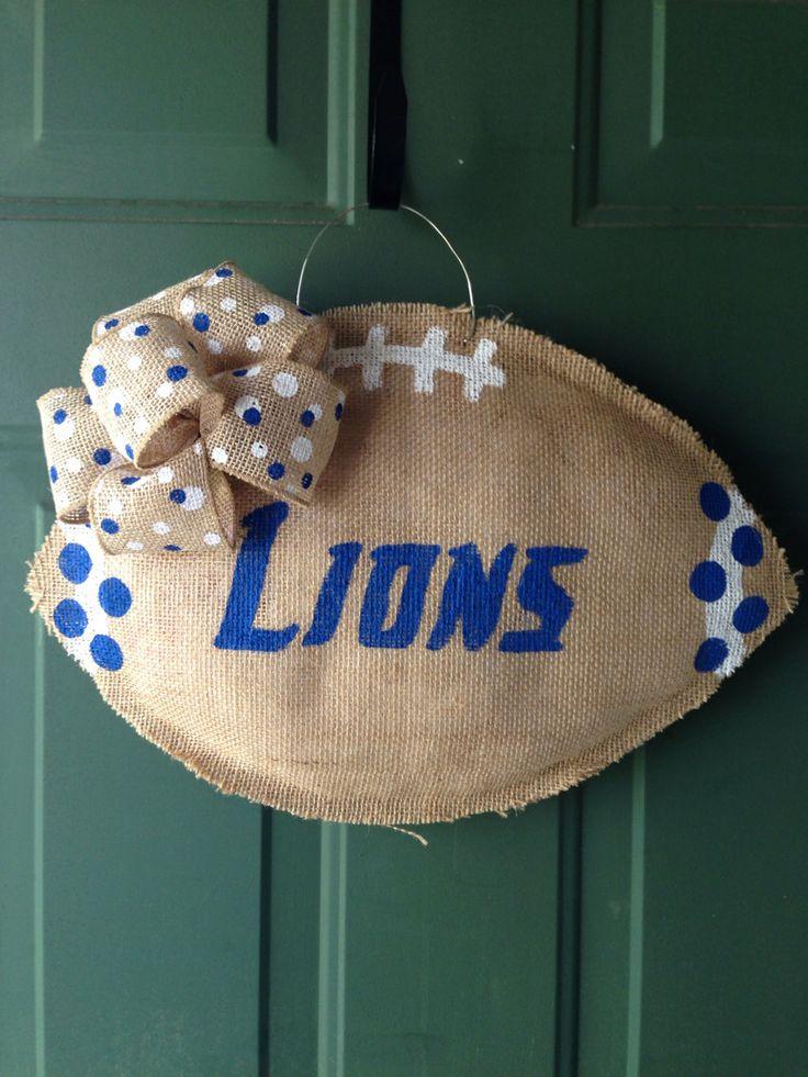 Detroit Lions Burlap Door Hanger by GMHomeDecor on Etsy, $25.00
