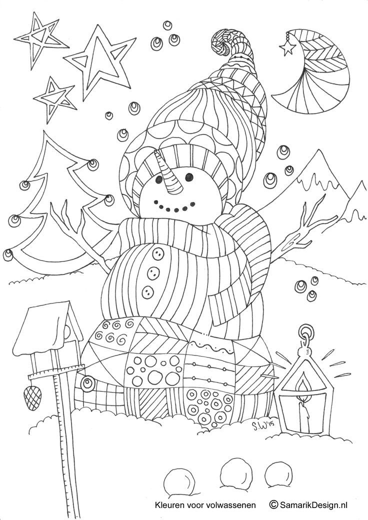 christmas doodle coloring pages for adults | Kleurplaat voor volwassenen. Winter - Kleurplaten ...