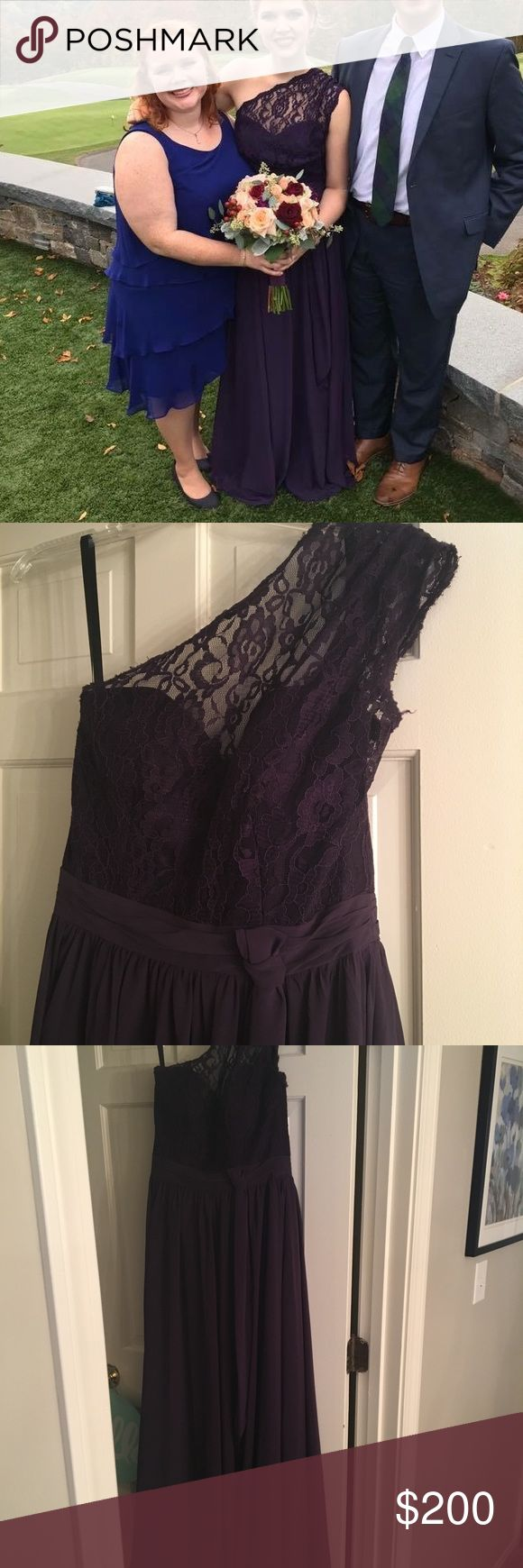 Alfred Angelo bridesmaid dress, size 8, eggplant Floor Length bridesmaid dress, in eggplant. Lace bodice. Taken in the bust. I am a 34a and 5'9 Alfred Angelo Dresses Wedding