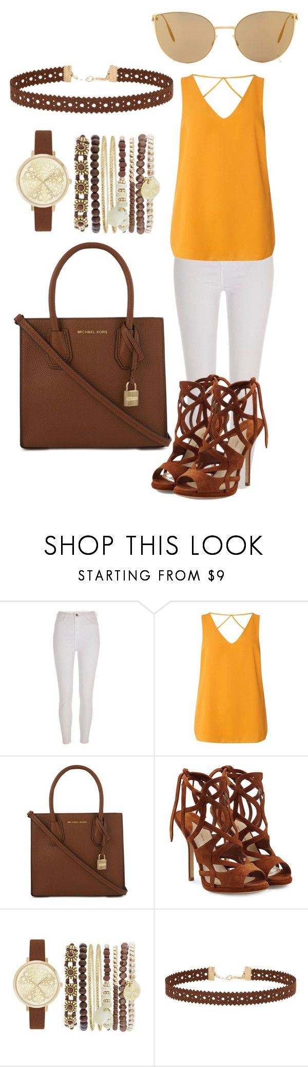 """""""Summer outfit """" by disseminatethefashion on Polyvore featuring River Island , Dorothy Perkins , MICHAEL Michael Kors, Paul Andrew , Jessica Carlyle   , Miss Selfridge and Mykita sunglasses , bag , watch , women fashion , outfit , bracelet set , suede leather cut out heels , yellow , orange top choker necklace , brown , gold , spring , autumn"""