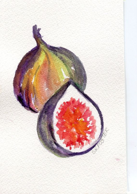 Figs Watercolor Painting, Fruit Series 4 x 6, Original Fig great kitchen,dining…