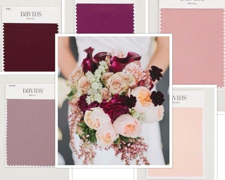 Pink, burgundy and purple wedding inspiration | David's Bridal Colors Clockwise from top: Sangria, ballet, petal, Quartz, wine