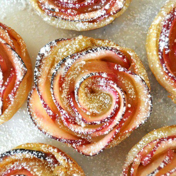 apfel muffins rosenform stückchen gezuckert