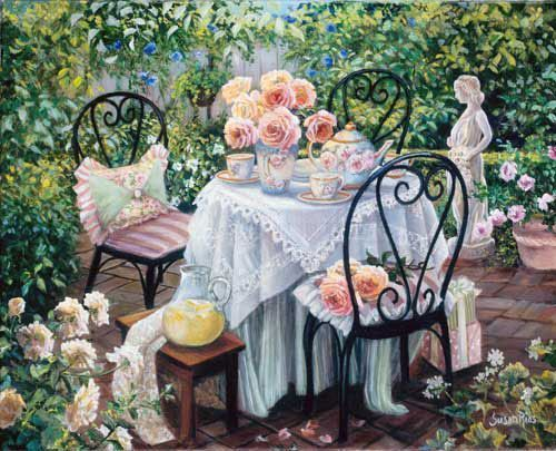 """""""Garden Tea"""" Susan Rios Keepsakes 8 x 10 Susan Rios has been a professional artist for over 30 years. You will find her romantic illustrations in many of Emilie Barnes Tea Books and her tranquil paint"""