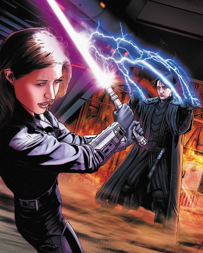 Invincible scene by Joe Corroney featuring Jaina Solo and Darth Caedus