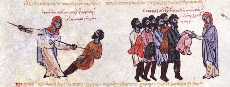"""""""An illumination of a scene from the Skylitzes Chronicle, depicting a Thracesian woman killing a Varangian who tried to rape her, whereupon his comrades praised her and gave her his possessions"""" [Source: Varangian Guard - Wikipedia]"""