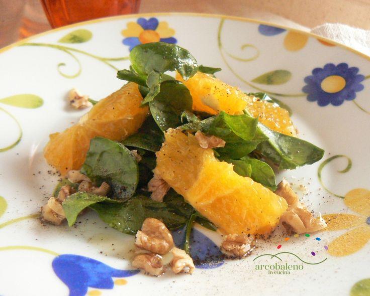 Ricetta Insalata di Spinaci con tocchettini di Arance e Noci