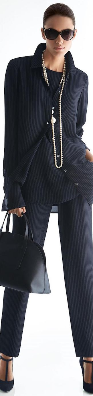 MADELEINE BLOUSE AND TROUSERS NAVY/WOOL WHITE