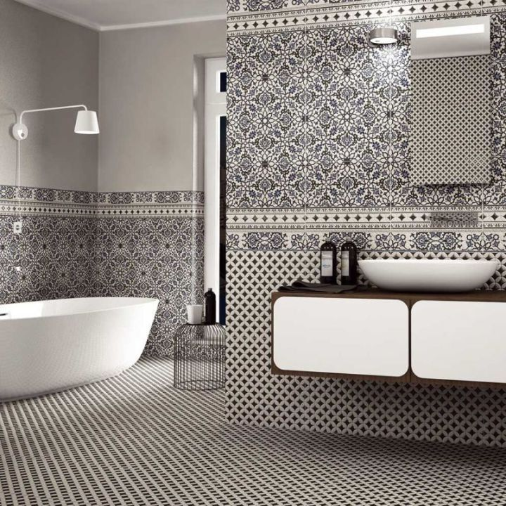 Blue Patterned Bathroom Tiles Part - 18: Black And White Patterned Tiles