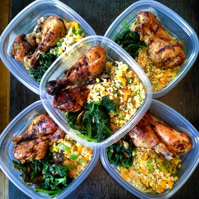 baked chicken with some bbq sauce, sauteed spinach with mushrooms and brown rice with peppers and corn