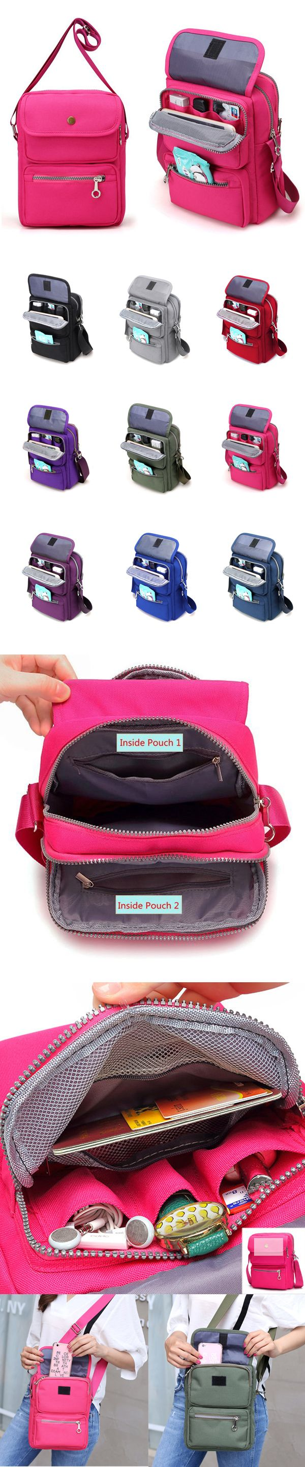 [$ 14.46]    Women Nylon Travel Passport Bag Crossbody Travel Bag Useful Shoulder Bag