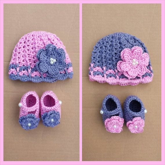 Gray and pink crochet set Baby girl hat and booties ...