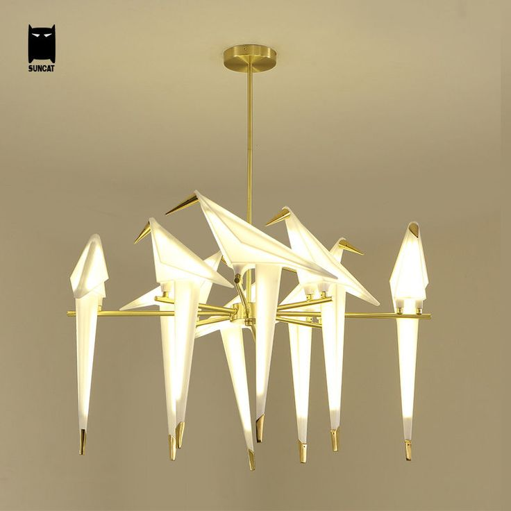 Gold Bird Chandelier Ceiling Light Fixture Modern Pendant Lamp For Dining Room
