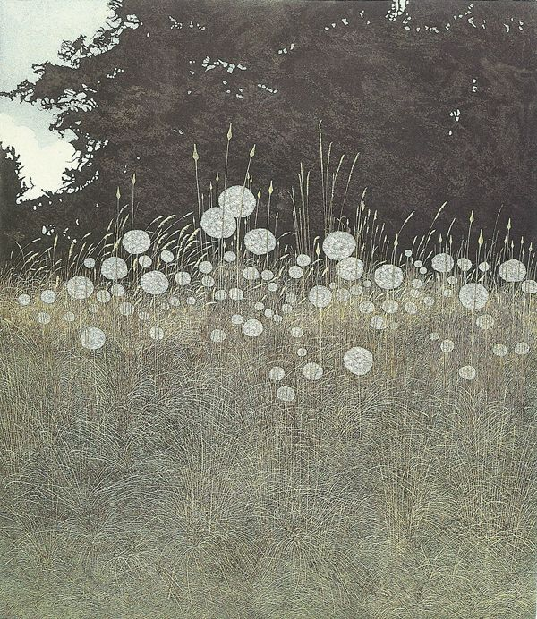 Phil Greenwood. Field with fluffy plumes. Intaglio print.