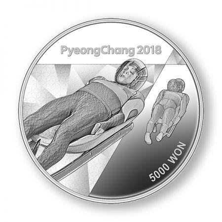 Νέες Εκδόσεις 5000 γον, Πιόνγκτσανγκ, Χειμερινοί Ολυμπιακοί Αγώνες,Ασήμι,999, 2018