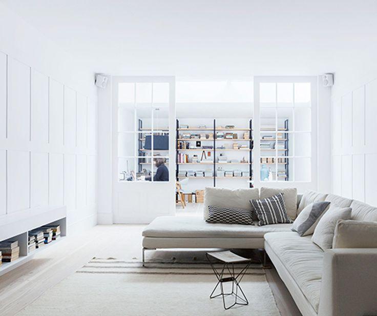 Monochromatic, white-toned colour palette for the living room area. #interdema #design #livingroom #lifestyle