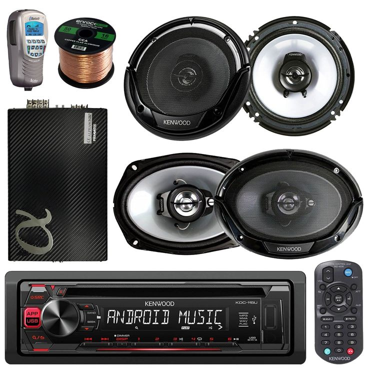 """Kenwood Car In Dash CD MP3 AM/FM AUX USB Radio Stereo Receiver & Remote + 2X 6.5"""" Audio Speakers 2 X 6x9"""" Inch Black Coaxial Speakers + 50Ft Speaker Wire + Handheld Bluetooth Remote (With Amplifier). PACKAGE BUNDLE KIT INCLUDES: 1 Kenwood KDC115U Car Audio CD Player Radio Receiver = Pair Of Kenwood KFC-1665S 6.5 600W Speaker = Set Of Kenwood KFC-6965S 6 x 9 800W Speaker = 1 Cobra MR-F300BT Waterproof Bluetooth Wireless Handset = 1 Alphasonic PMA2800X 1600 Watt Amplifier. STEREO RECEIVER..."""