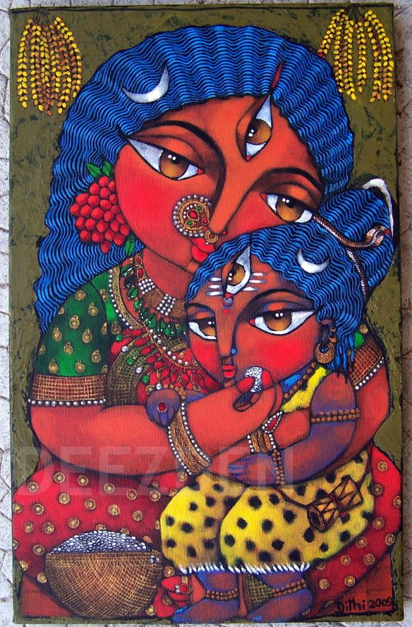 I want an piece of art of the hindu goddess, Annapurna (goddess of food) for my kitchen. This one is by artist, Dithi.