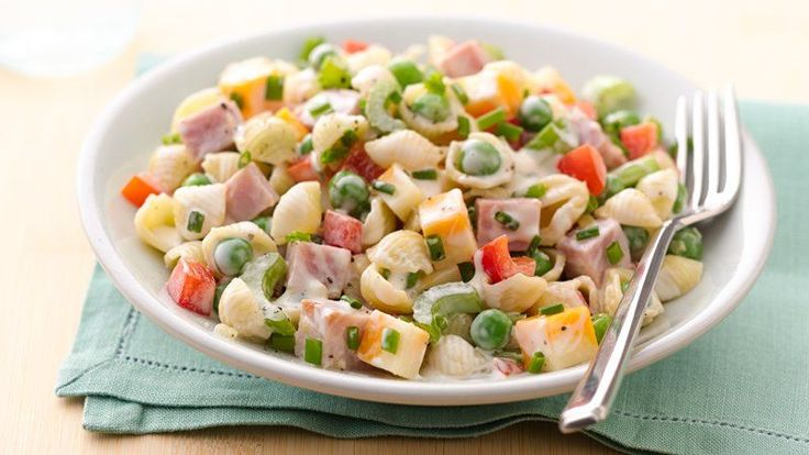 Turn leftover ham into the main attraction, with plenty of fresh veggies  and yummy pasta tossed with ranch dressing.