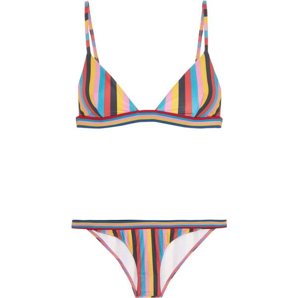 Rye Razzle striped triangle bikini ($230) ❤ liked on Polyvore featuring swimwear, bikinis, bikini two piece, striped bikini, multi color bikini, triangle swimwear and triangle swim wear