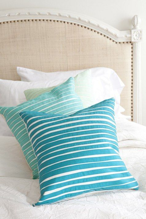 Beachy: Decor, Ideas, Beach House, Pillow Talk, Stripey Pillow, Throw Pillows, Bedroom