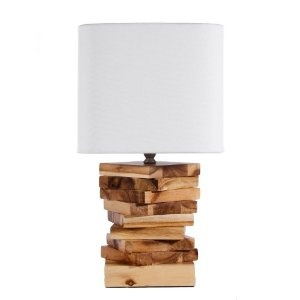 Small Arbor Accents Stacked Wood Table Lamp