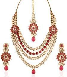 Buy Splendid Gold plated Australian Diamond Stone  Necklace Set necklace-set online